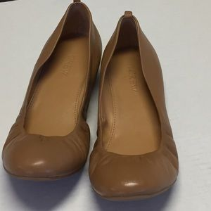 J CREW TAN Ballet Flats Leather. Size 7.5